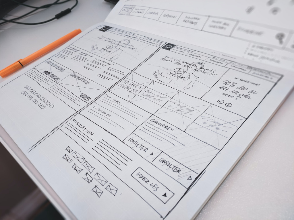 Auf Papier skizziertes Desktop Wireframe